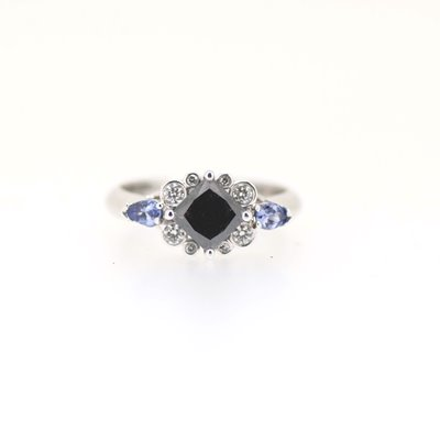 Black Diamond and Tanzanite Rin