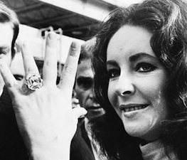 Elizabeth Taylor with her 33.19 carats Asscher cut diamond from Richard Burton.