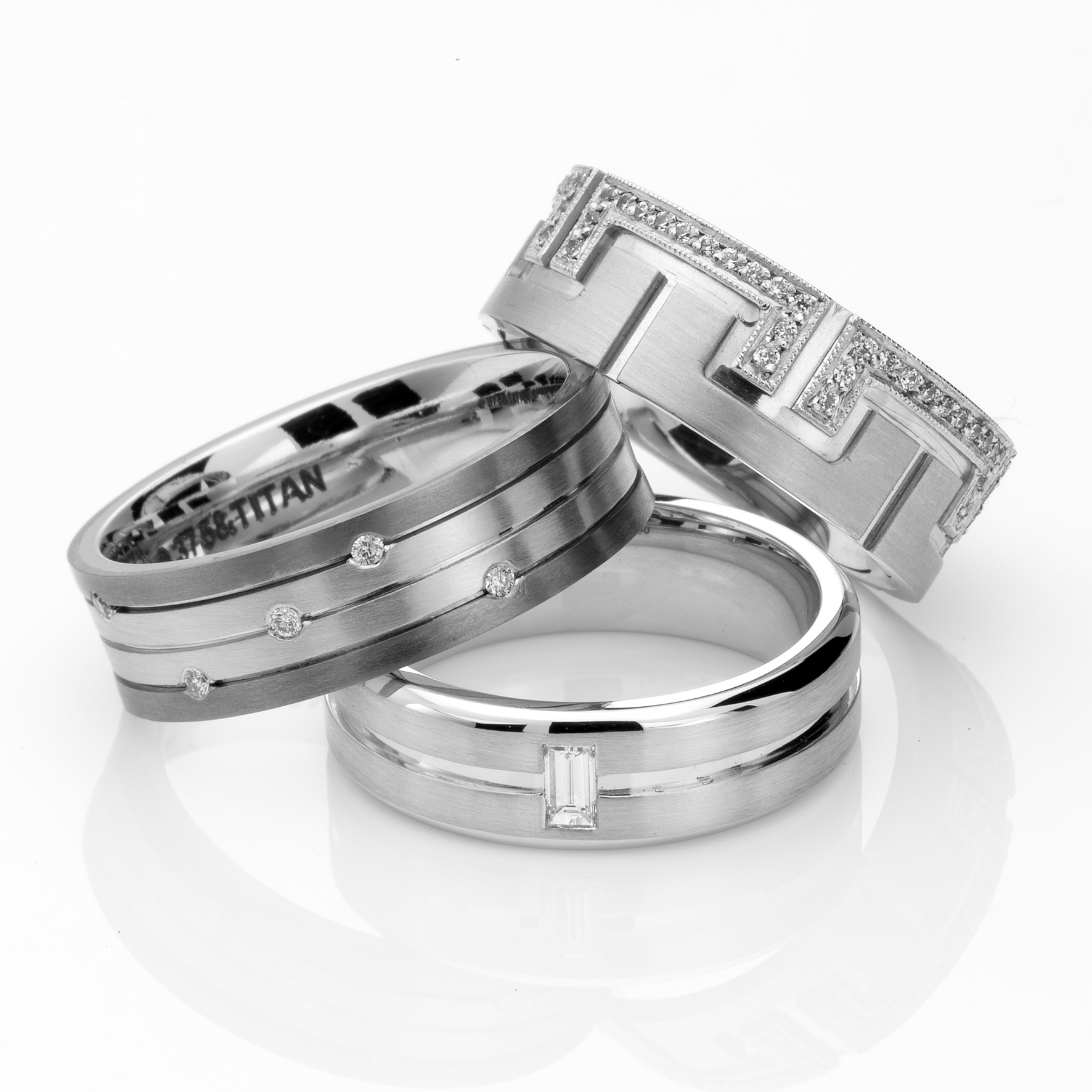 same couples engagement and wedding rings  tayha designs