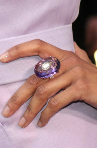 Hollywood actress Zoe Saldana's Amethyst cocktail ring at the Oscars 2010.